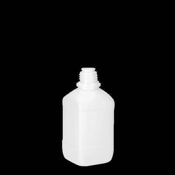 500 ml Vierkantflaschen HDPE weiß OV 32 eckig
