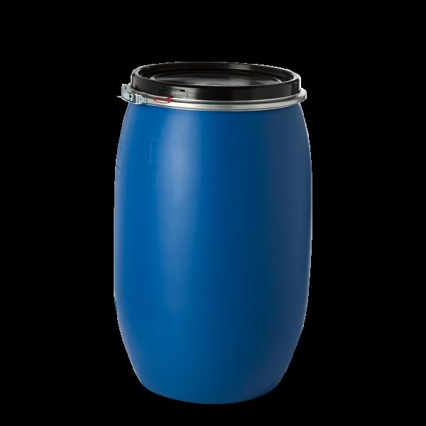 150 Liter Spannringdeckelfässer HDPE blau rund