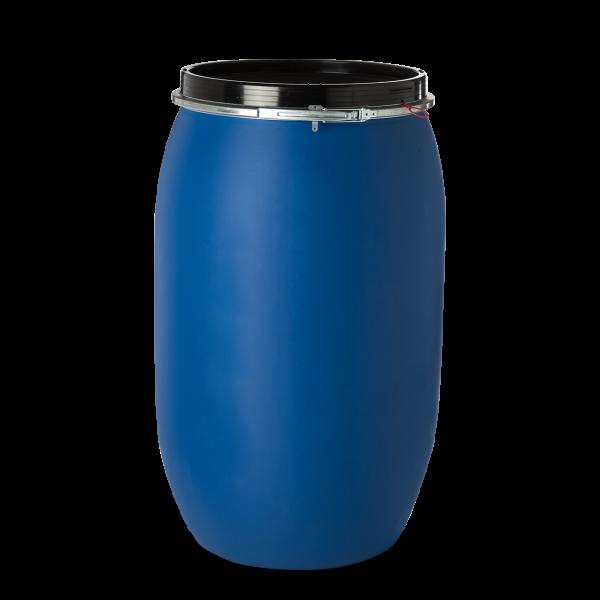 220 Liter Spannringdeckelfässer HDPE blau rund