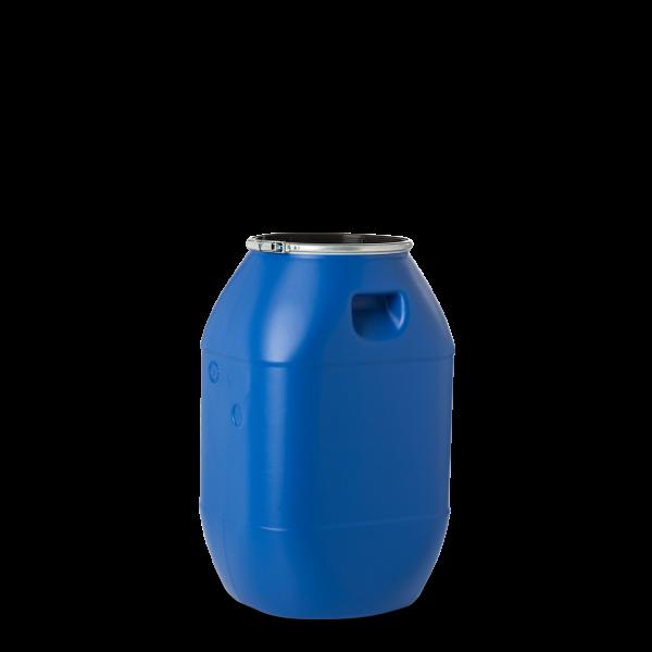 60 Liter Spannringdeckelfässer HDPE blau rund