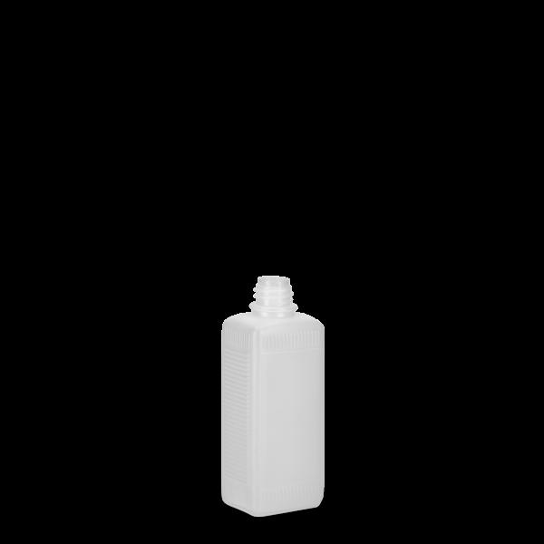 100 ml Vierkantflaschen HDPE natur RD 18 eckig