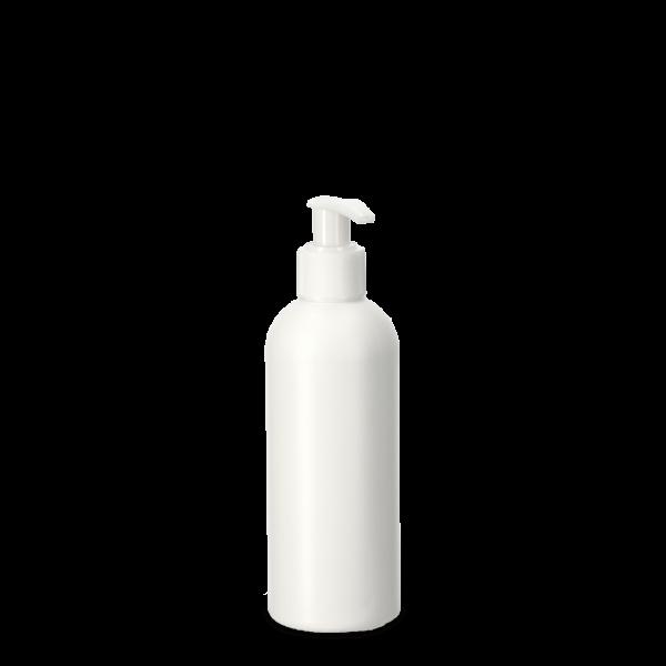 250ml Rundflasche - weiß - incl. Cremespender weiß