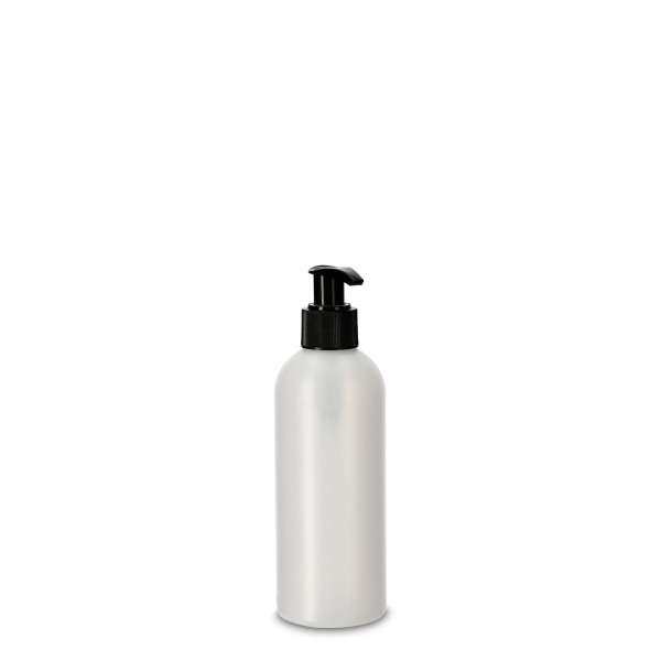 250ml Rundflasche - natur - incl. Cremespender schwarz