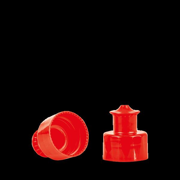 Push Pull Verschluss - rot - Gewinde 28/410
