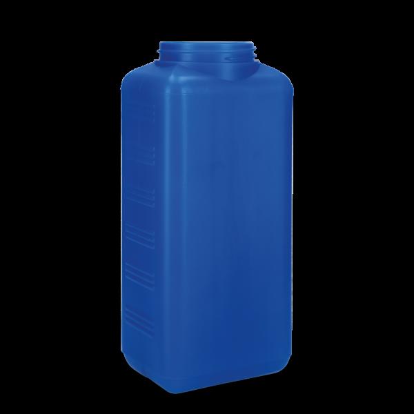 2500 ml Vierkantflaschen HDPE transparent - blau RD 80 eckig